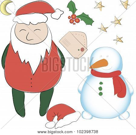 Set Of Elements For The New Year Or Christmas Decor. Santa Claus And His Snowman Helper, Stars