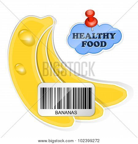 Bananas Icon With Barcode By Healthy Food. Vector Illustration