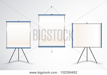Collection of three vector illustrations of projector wall and tripod screens