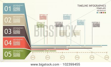 Timeline infographics template with space for mentions and base text