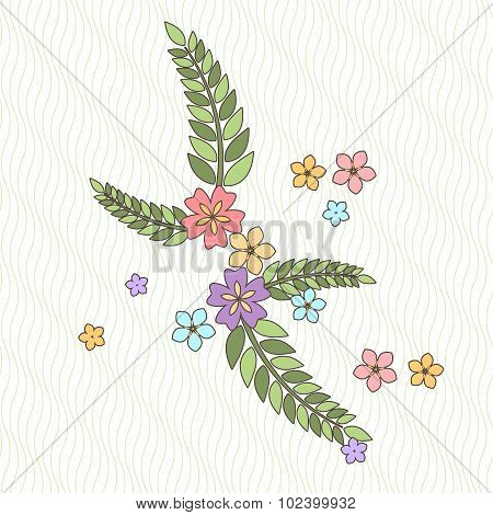 Background with flowers and branches in the Japanese style