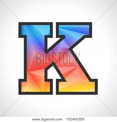 Vector Geometric Gradient Design Triangular Polygonal Font. Children style Letter K