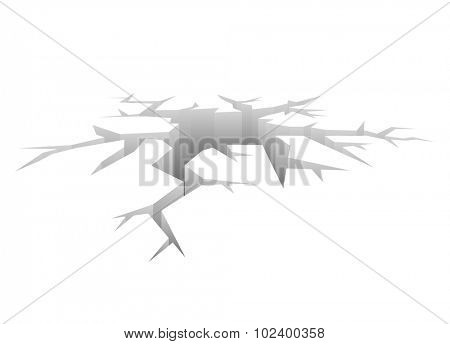 Vector Crack. Designed Hole. Crash Concept white Background