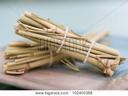 Bundles of dried fennel stalks