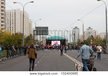 The scene of the opposition rally for an hour before the rally started. A Russian opposition rally f
