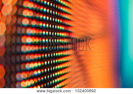 Extreme Macro With Bokeh Of Colored Led Smd Screen