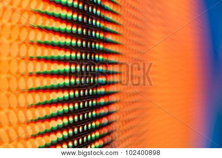 Extreme Macro Of Orange Colored Led Smd Screen
