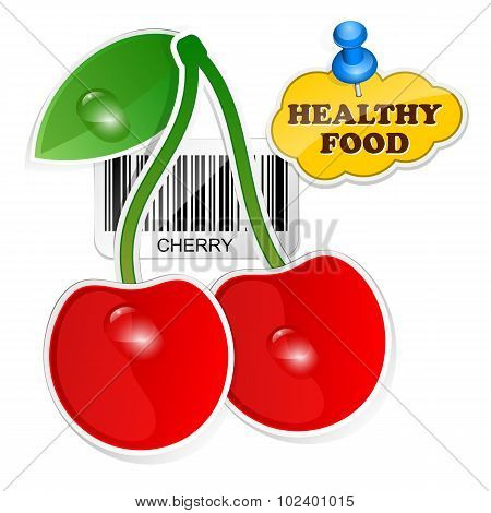Cherry Icon With Barcode By Healthy Food. Vector Illustration