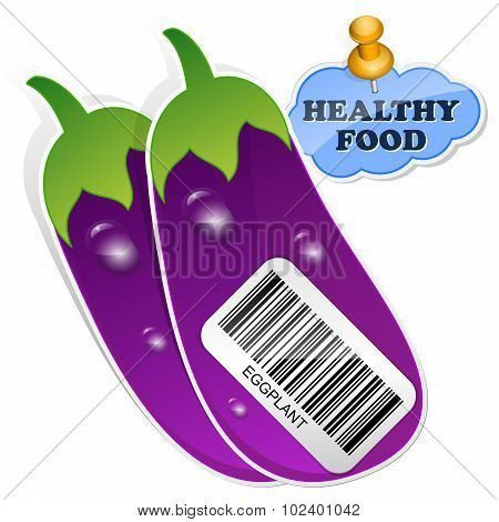 Icon Eggplants With Barcode By Healthy Food. Vector Illustration