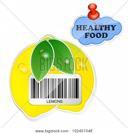 Lemon Icon With Barcode By Healthy Food. Vector Illustration