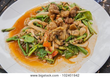 Thai Yum Salad Hot And Spicy With Crackling And Thai Vegetables, Thai food.