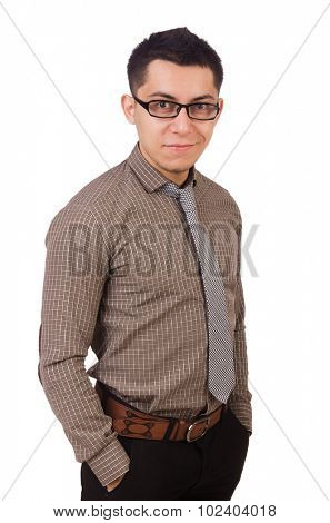 Young man in brown shirt isolated on white