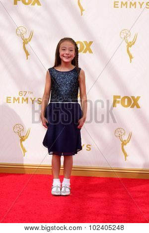 LOS ANGELES - SEP 20:  Aubrey Anderson-Emmons at the Primetime Emmy Awards Arrivals at the Microsoft Theater on September 20, 2015 in Los Angeles, CA