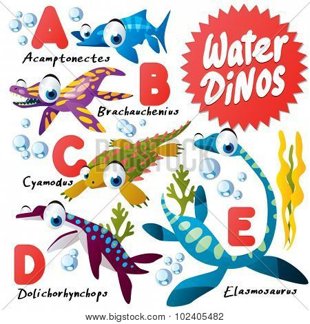Cute Cartoon Water Dinos ABC: Omphalosaurus, Paraplacodus, Rhomaleosaurus, Shonisaurus, Temnodontosaurus, Utatsusaurus, Woolungasaurus