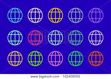 Globe Earth logo vector icon set