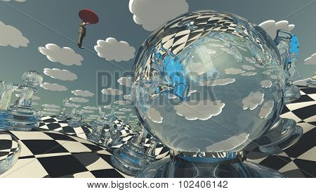 Surreal Chess Landscape with hovering man