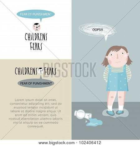 Children's fears. Vector illustration.