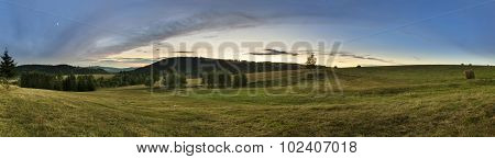 Panorama Of Sudety Mountains In Poland
