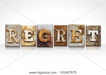 Regret Letterpress Concept Isolated On White
