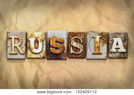 Russia Concept Rusted Metal Type