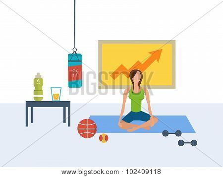 Vector flat set of fitness woman. Yoga classes.