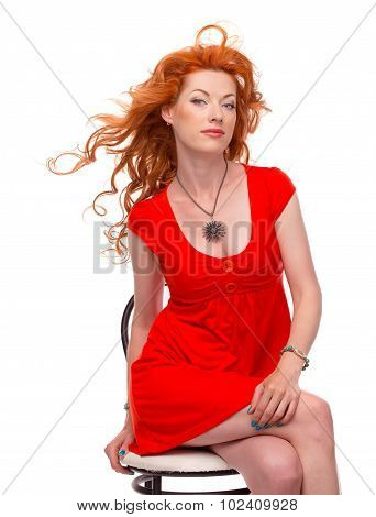 Beautiful red-haired woman