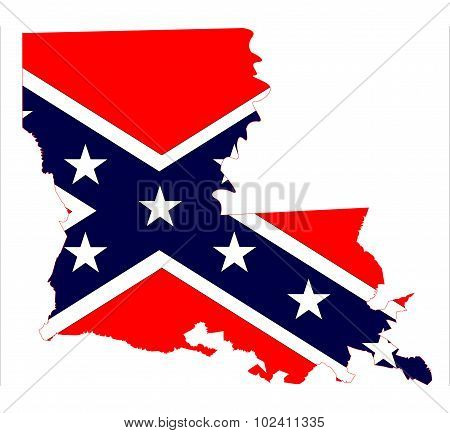 Louisiana State Map And Confederate Flag