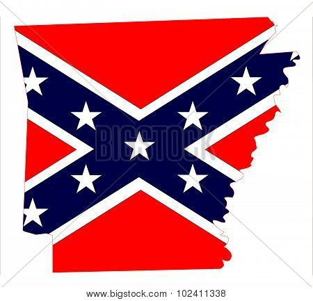 Arkansas Map And Confederate Flag