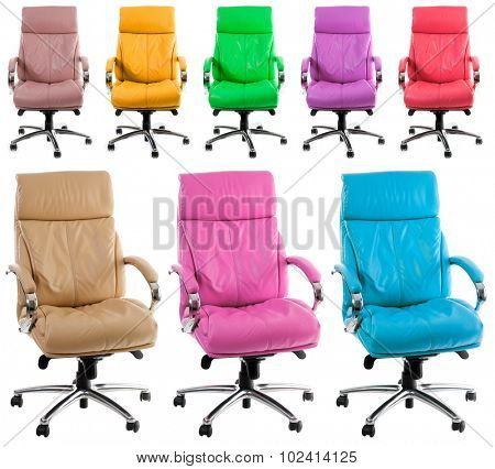 Set Leather office Chair isolated on a white background.
