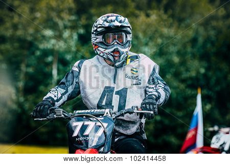 racer motocross preparing to start
