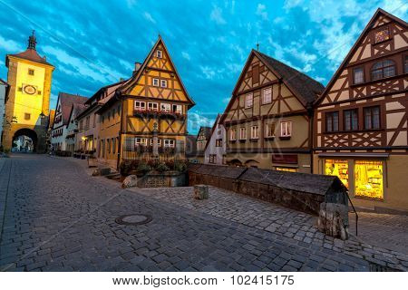 Beautiful view of the historic town of Rothenburg ob der Tauber, Franconia, Bavaria, Germany at dusk