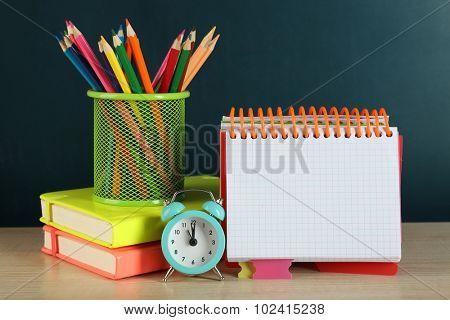 School equipment on wooden table