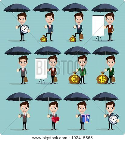 Businessman holding umbrella for protecting