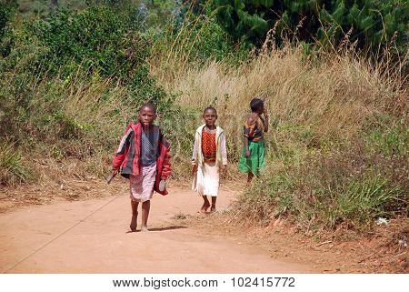 African Children On The Dirt Road To Kilolo In Tanzania Africa 8