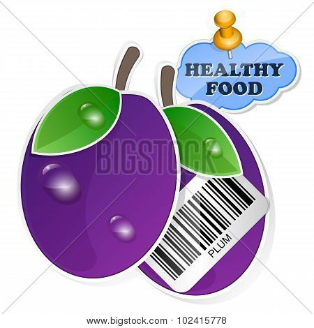 Plum Icon With Barcode By Healthy Food. Vector Illustration
