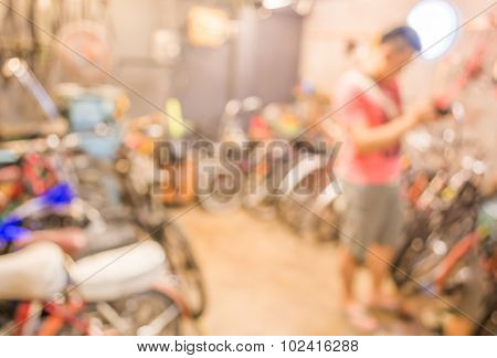 Blurred Image Of Lots Of Parked Bikes. Useful As Background