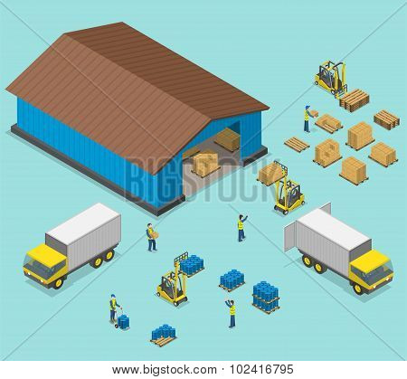 Warehouse isometric flat vector illustration.