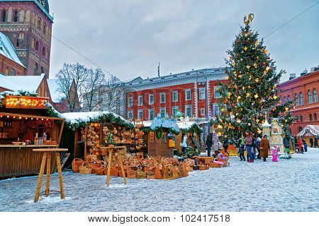 European Christmas Fair Stalls In Old Riga