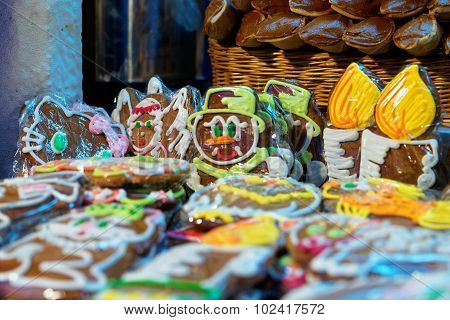 Gingerbread Man And Other Traditional Souvenirs At The European Christmas Market