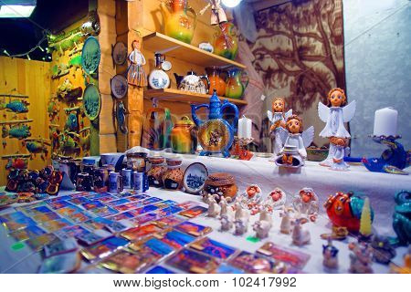 Traditional Souvenirs Displayed For Sale At The European Christmas Market