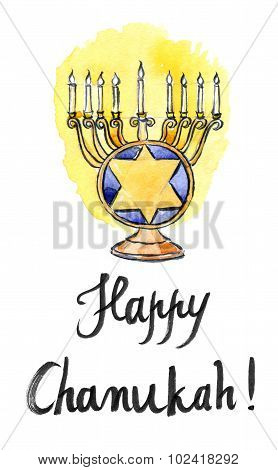 Hanukkah Menorah With All Candles Lit, Jewish Holiday
