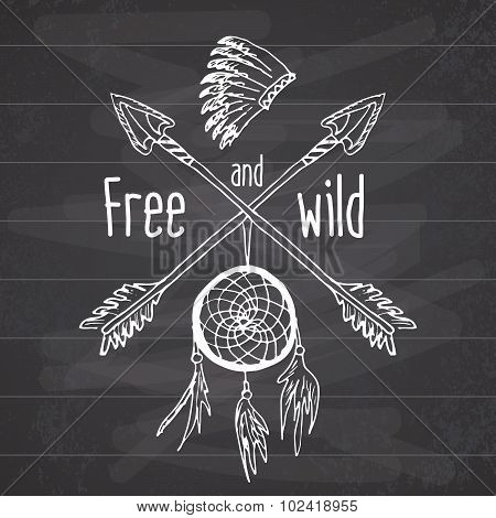 Dream Catcher And Crossed Arrows, Tribal Legend In Indian Style With Traditional Headgeer. Dreamcatc