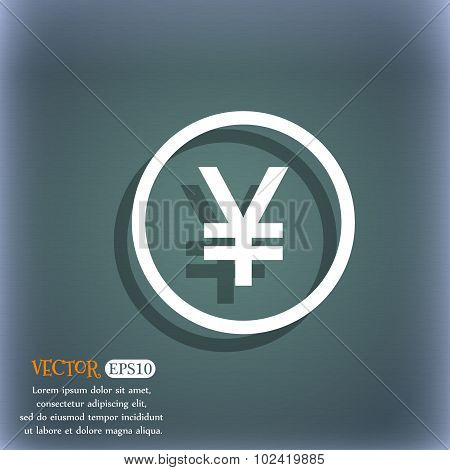 Japanese Yuan Icon Sign. On The Blue-green Abstract Background With Shadow And Space For Your Text.