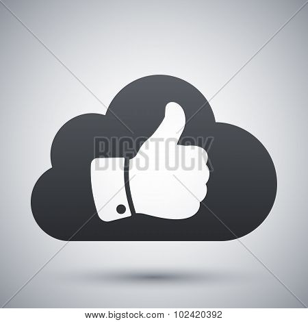 Vector Cloud With Thumb Up Icon