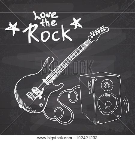 Rock Music Hand Drawn Sketch Guitar With Sound Box And Text Love The Rock, Vector Illustration On Ch