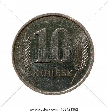 Coin Ten Cents Moldova Isolated On A White Background. Top View