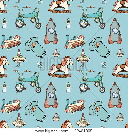 Baby, Child Toys Hand Drawn Elements Seamless Pattern. Skeched Doodle Elements Train, Bicycle, Horse