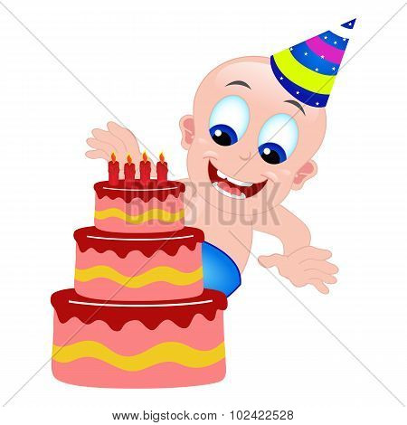 Cute Baby Birthday Cake And Hat