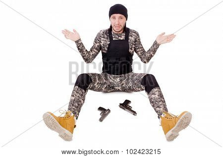 Caucasian soldier with handgun isolated on white