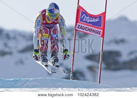 ZAUCHENSEE AUSTRIA. 07 JANUARY 2011.  Lindsey Vonn (USA) takes to the air during the second official training run for the downhill race part of FIS Alpine World Cup, in Zauchensee Austria.